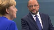 Alles verstanden? Bundeskanzlerin Merkel und SPD-Herausforderer Schulz im TV-Duell