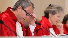 President of the German Constitutional Court Vosskuhle reacts during the hearing on European Stability Mechanism and fiscal pact in Karlsruhe