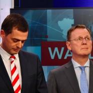 CDU-Spitzenkandidat Mike Mohring (l.), Ministerpräsident Bodo Ramelow (Linkspartei)