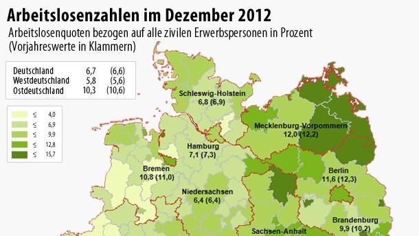 Infografik / Arbeitslosenzahlen im Dezember 2012
