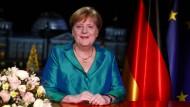 Bundeskanzlerin Angela Merkel während der Aufzeichnung ihrer Neujahrsansprache.