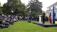 Alexander Van der Bellen bei seiner ersten Rede nach der knappen Wahl