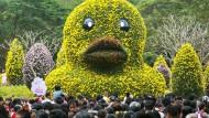 30. November 2014. Die blumige Kopie einer Gummiente ruht über dem Trubel einer Gartenausstellung im südchinesischen Shenzen.
