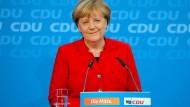 War der gegebene ein zu später Zeitpunkt? Angela Merkel (CDU) äußert sich auf einer Pressekonferenz in Berlin zu ihrer Kanzlerkandidatur.