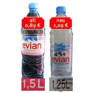 """Verbraucher haben ein Mineralwasser der Marke Evian zur """"Mogelpackung des Jahres"""" gewählt Der Hersteller Danone Waters hatte die Füllmenge von 1,5 Liter auf 1,25 Liter reduziert und gleichzeitig den Preis angehoben"""