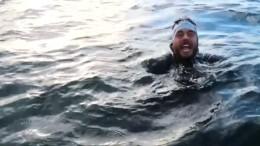 Brite schwimmt und schwimmt