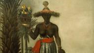 Steht diese Afrikanerin oben oder unten in der Hierarchie der brasilianischen Völkerschaften? Die Pfauenfedern ihres Hutes weisen sie als vornehme Dame aus.