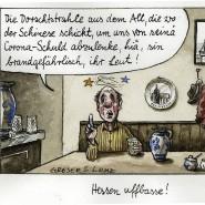 Eine Karikatur von Greser & Lenz zu den Verschwörungstheorien rund um Corona.