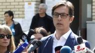 Nur knapp liegt er vorne: der Präsidentschaftskandidat Stevo Pendarovski für Nordmazedonien