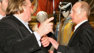 File photo of French actor Depardieu with Russian PM Putin during a meeting in St.Petersburg