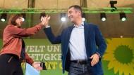 Schwarz-Grünes Wunschdenken: Die Spitzenkandidaten Göring- Eckardt und Özdemir am Wochenende in Berlin