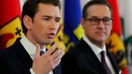 Der österreichische Kanzler Sebastian Kurz mit seinem Koalitionspartner, Heinz-Christian Strache von der FPÖ