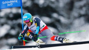 Ted Ligety of the U.S. clears a gate during the men's Super G race at the World Alpine Skiing Championships in Schladming