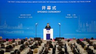 Xi Jinping bei seiner Rede in Schanghai.