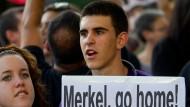 Der Besuch von Bundeskanzlerin Merkel wurde von Protesten begleitet.