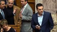 Der griechische Premierminister Alexis Tsipras bei der Abstimmung zum Reformpaket im Parlament in Athen
