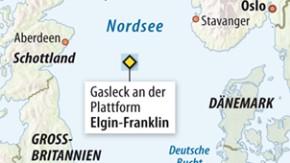 Infografik / Karte / Gasleck an der Plattform Elgin-Franklin