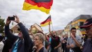 Anhänger der AfD Mitte August bei einer Wahlkampfveranstaltung in Bautzen