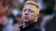 Boris Becker als Trainer von Novak Djokovic bei den Australian Open 2014 in Melbourne.