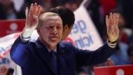 Der türkische Staatspräsident Recep Tayyip Erdogan während einer Wahlkampfveranstaltung in Ankara