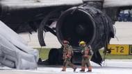 Das ausgebrannte Triebwerk der Boeing 767