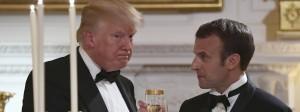 Auf die Männerfreundschaft? Trump und Macron stoßen an beim festlichen Bankett im Weißen Haus.
