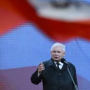 Jaroslaw Kaczynski bei einer Rede in Smolensk.