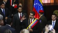 Will nicht weichen: Venezuelas Staatschef Nicolás Maduro am Donnerstag vor dem Obersten Gericht in Caracas.