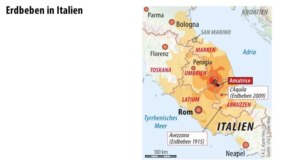 """landkarte amatrice italien Erdbeben in Italien: """"Amatrice ist nicht mehr"""""""
