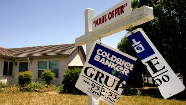 File photo of a foreclosed home is seen in Stockton