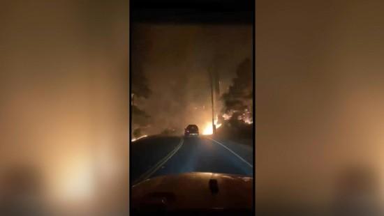 Autofahrt durch das Flammeninferno