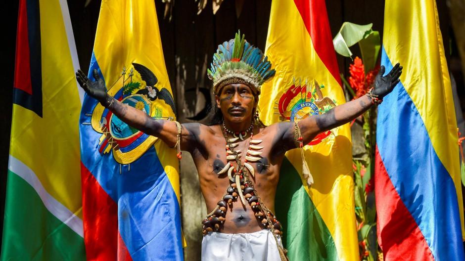 Ein Angehöriger des kolumbianischen Tikuna-Volkes steht vor den Fahnen von Guyana, Kolumbien, Bolivien und Ecuador während des Amazonas-Gipfels in Leticia.