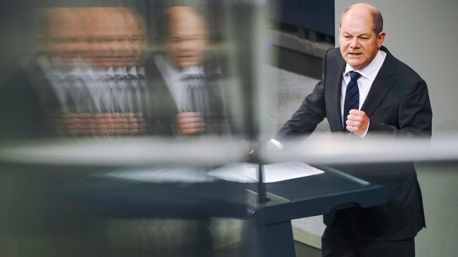 Bundesfinanzminister Olaf Scholz (SPD) am Dienstag im Bundestag während der Debatte zum Bundeshaushalt 2020