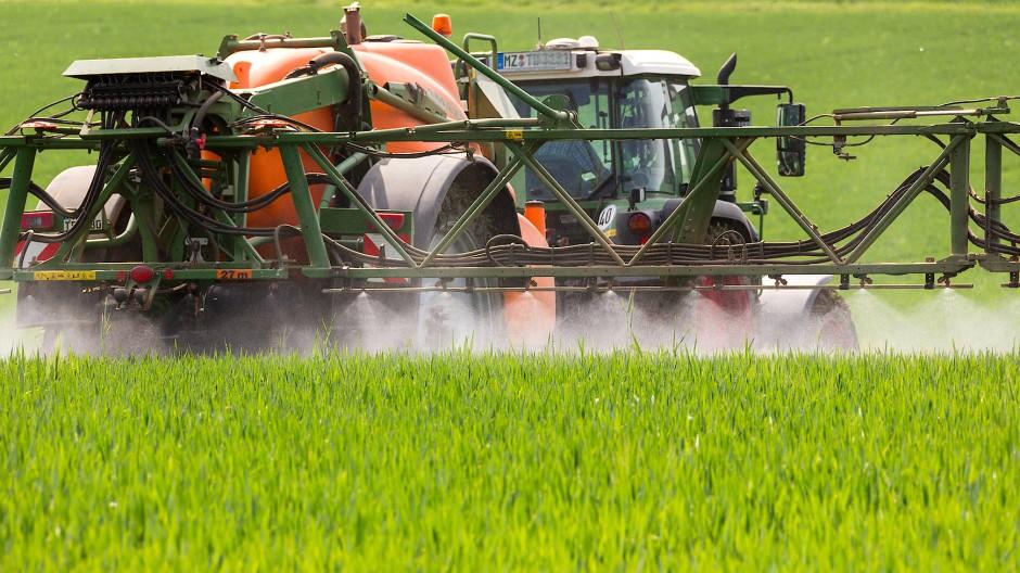 Pflanzenschutz in der Landwirtschaft - Landwirt Axel Dettweiler spritzt Fungizide auf ein Weizenfeld bei Dalheim.