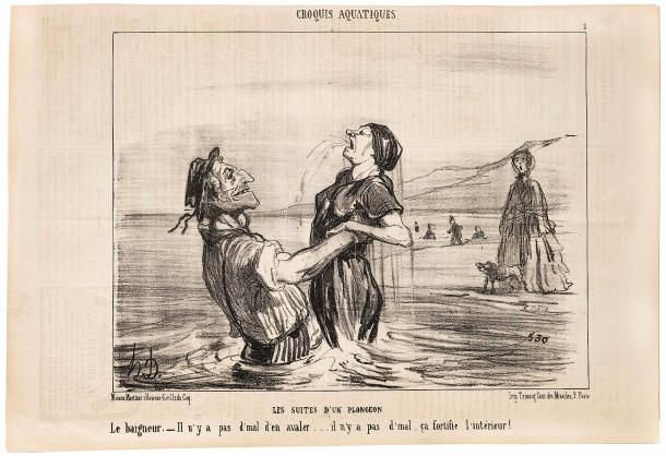Wenn das Baden zur Mode wird, haben Schwimmlehrer gute Karten: Zeichnung von Honoré Daumier.