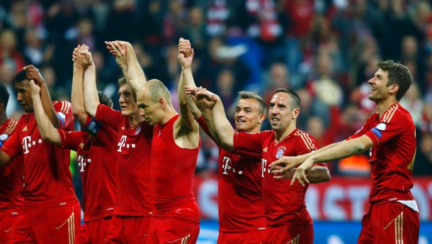 Bayern Munich's players celebrate after winning 4-0 against Barcelona at the end of their Champions League semi-final first leg soccer match in Munich