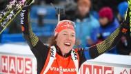 Freude über Bronze: Laura Dahlmeier läuft in Oslo auf den dritten Platz