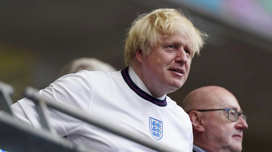 Boris Johnson beim Finale in Wembley