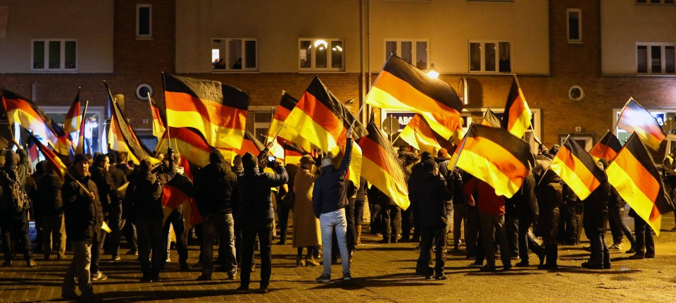 Teilnehmer einer AfD-Demonstration in Rostock vergangenen Dezember