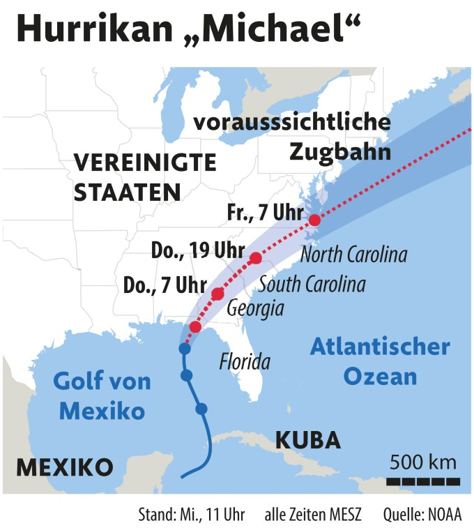 Florida Karte Drucken.Hurrikan Michael Fordert Mindestens Einen Toten In Florida
