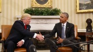 Versöhnliche Töne beim ersten Treffen von Trump und Obama