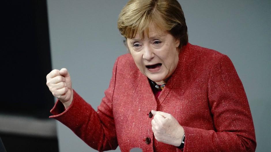 Angela Merkel bei ihrer Rede zum Stand der Pandemie im Bundestag am 9. Dezember 2020.
