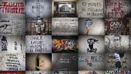 """""""Je suis Charlie"""": Gedenken an die ermordeten Zeichner und Journalisten von """"Charlie Hebdo"""" an Mauern und Wänden in Paris"""