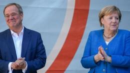 Merkel wirbt für Kanzlerkandidat Laschet