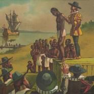 Die Geschichte von Sklaverei und Demokratie sind eng verwoben: Eine Lithografie zeigt die Ankunft der ersten schwarzen Sklaven in Virginia zu Beginn des 17. Jahrhunderts.