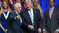 Donald Trump und sein Vizepräsidentschaftskandidat Mike Pence