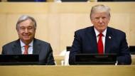 UN-Generalsekretär Antonio Guterres mit dem amerikanischen Präsidenten Donald Trump am Dienstag vor einem Treffen zur Reform der Vereinten Nationen