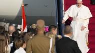 Papst Franziskus bei seiner Ankunft in Budapest am 12. September