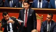 Ministerpräsident Giuseppe Conte am Dienstag im Senat in Rom