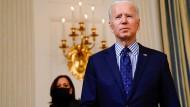 Der amerikanische Präsident Joe Biden und die Vizepräsidentin Kamala Harris am Samstag in Washington